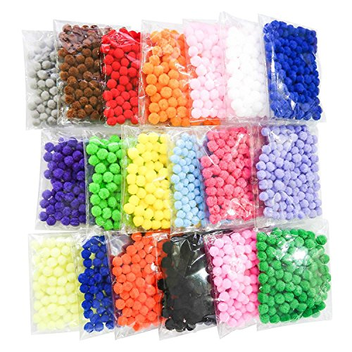 TOAOB 1900 Pieces 1cm Assorted Pompoms Multicolor Arts and Crafts Pom Poms for Hobby Supplies and DIY Creative Crafts Decorations