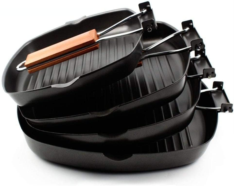 iYoung Steak poêle Pliable Épaissir Poêle Poêle Griller Antiadhésive Carré, Grill à Steak BBQ, Manche Amovible, Convient pour Four, Noir 24 * 24cm