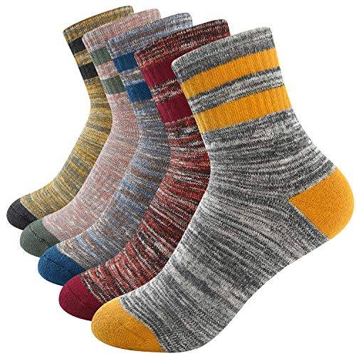 Womens Hiking Walking Socks Outdoor Recreation 5 Pairs Socks Multi Performance Wicking Cushion Crew Socks
