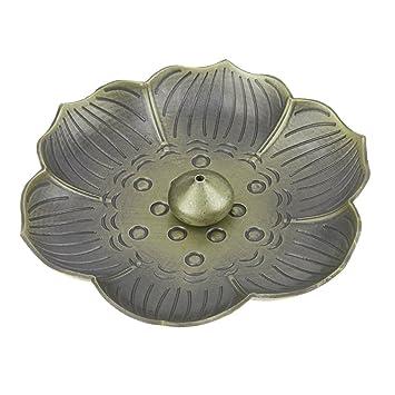 Quemador de incienso titular adornos con forma de flores Censer Plate para estufa de incienso Cono titular soporte para incienso Vintage ...