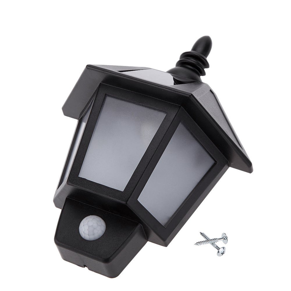 LED Solar Wall Light 0.5Watts Outdoor Warm White Cool White ABS PS Body Material IP44 Waterproof Black PIR Sensor Lamp for House Lighting 1Pcs Safety (Size : Warm White)