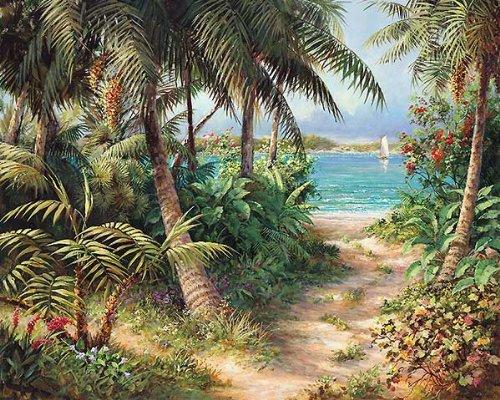 Bahama Sail by Art Fronckowiak Tropical Caribbean Beaches Palm Trees Print Poster (Choose Your (Fronckowiak Tropical Print)