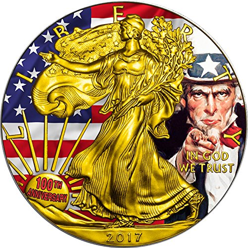 100th Anniversary Coin - 2017 United States Modern Commemorative Power Coin UNCLE SAM 100th Anniversary Want You Walking Liberty 1 Oz Silver Coin 1$ US Mint 2017 BU Brilliant Uncirculated