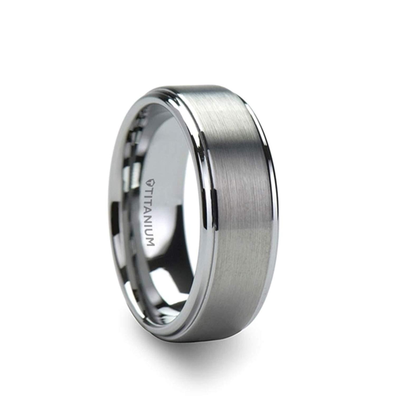 Brushed Raised Center Titanium Wedding Ring with Polished Step Edges Comfort Fit Thorsten Rhinox Lightweight Titanium Titanium Rings for Men 8 mm Custom Engraving
