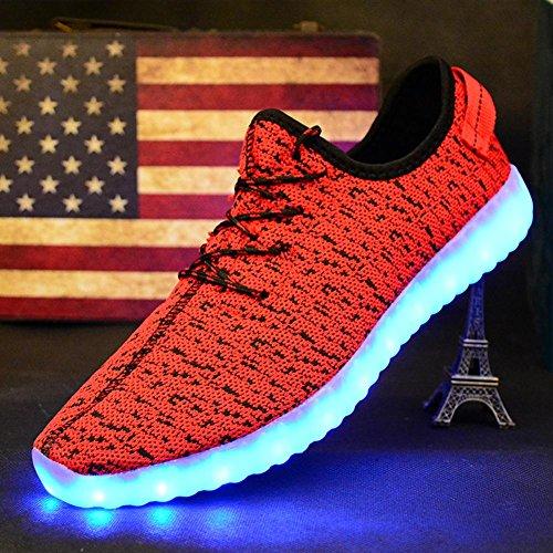 Las luces del LED calzan el resorte y los zapatos de los deportes del acoplamiento del verano la tela del flyknit y las suelas de goma siete colores cambian y once clases de modo que destella Red