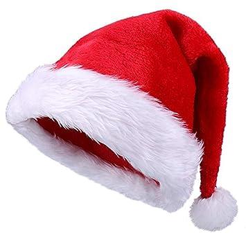 Yansanido 18.5\u0027\u0027 Adult Santa Hat Double Liner Christmas Hat Santa Christmas  Hat Traditional Red and White Plush Christmas Santa Hat (1 Pack)