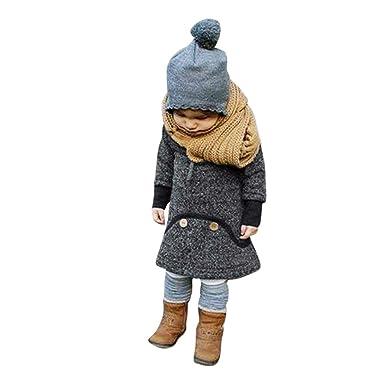 K-youth® Baratas Bebe niños Ropa Bebe Niña Invierno Suéter con capucha Cálido Larga