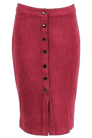 Momo Ayat Fashions Mesdames suédine Bouton Jupe Midi EUR Taille 36-42 ((EUR  36 ca7c5a1d2d67