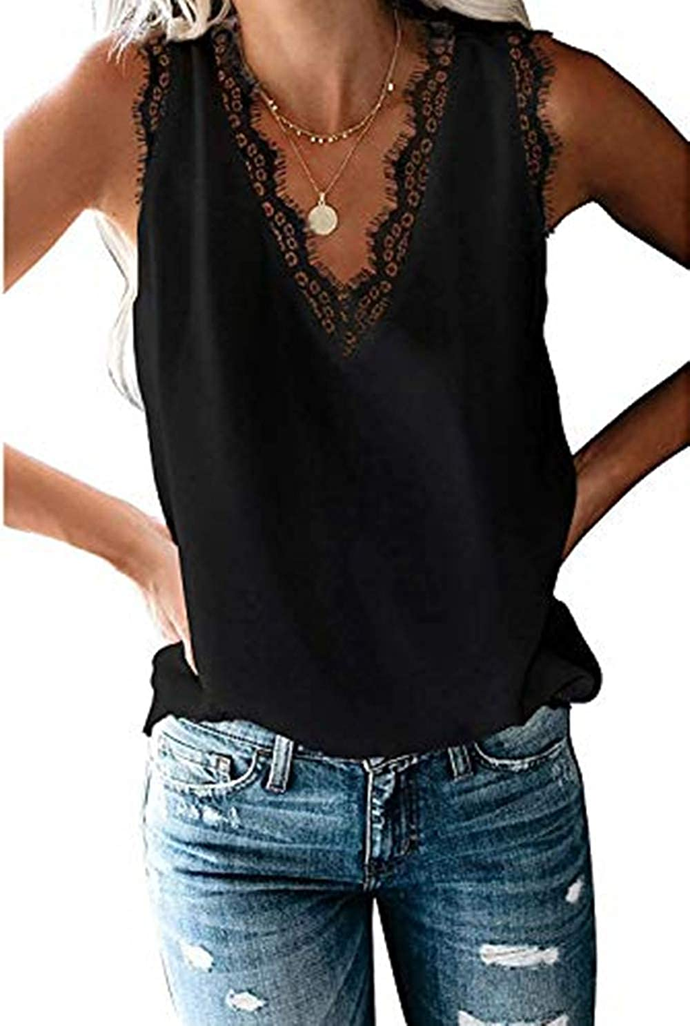 HARHAY Women's V Neck LaceTrim Casual Tank Tops Sleeveless Blouses Shirts at  Women's Clothing store