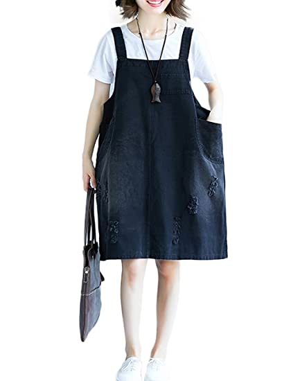 b7649ff547e Image Unavailable. Image not available for. Color  Innifer Women s Oversize  Vintage Casual Strap A-line Denim Bib Overall Dress