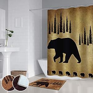 RORA Wild Animal Shower Curtain Sets With Non-Slip Rugs Black Bear Forest Wildlife Adventure Western Themed Waterproof Bath Decor 17.7''X23.6''