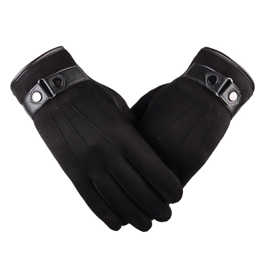 Wenjuan Men Winter Gloves Warm Windproof Fur Gloves Touch Screen Mittens for Smartphone Texting Cycling Skiing Outdoor Sports