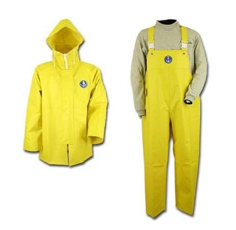 【上下セット販売】水産マリンレリー レモンイエロー 上着パーカー胸付きズボンセット 漁師専用レインスーツ (S) B01D84C8KYS