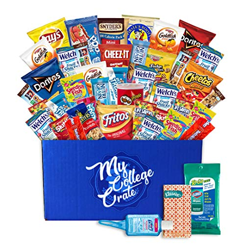 My College Crate Small Snack Care Package College Survival Kit Chips Variety Pack, Cookies, Candies (40 Snacks + 3 Personal Care (Personal Care Pack)
