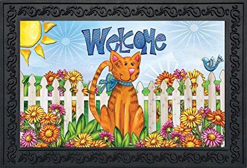 Briarwood Lane Welcome Cat Spring Doormat Indoor Outdoor Fence Kitty 18