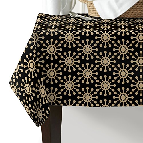 Gold Winter Rectangular Pool Cover - Z&L Home Arabian Ornament Design Cotton Linen Tablecloth Modern Black Gold Indoor Outdoor Table Cover for Wedding Party Kitchen Dinning Banquet Tableyop Home Decoration