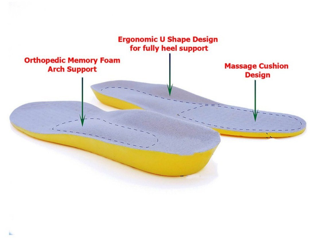 Orthotic Memory Foam And Gel Insoles - Orthopedic Plantar Fasciitis Pillow Inserts - Orthotics Plantars Insole For Boots,Running Shoe,Sport - Size M: (US Men 6-8 or US Women 7.5-9.5)