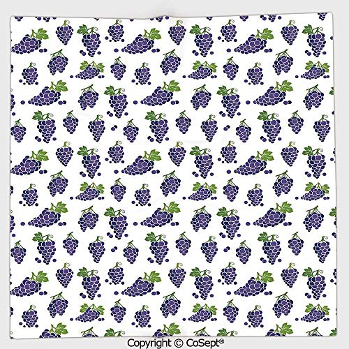 (AmaUncle Lightweight Square Towel,Cute Fruit Icons Patterned Juicy Organic Yummy Cottage Sweet Design,for Adults Girls Boys Women Men(9.84x9.84 inch),Purple Green)