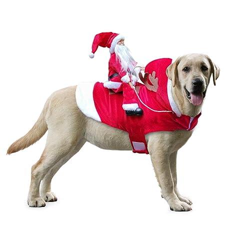 Idepet Trajes para Perros Navidad, Disfraz de Gato Navidad con Papá Noel Montado en Mascota Gato Perro Abrigo Rojo (XL) (L)