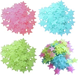 VIIRY 280PCS Colorful Glow in The Dark Stars Stickers for Ceiling and Wall Decals,Perfect for Kids Babys Bedroom Decorations or Party Birthday Gift(3.8CM)