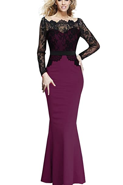 Amazon Com Viwenni Women Lace Maxi Cocktail Party Evening Fromal