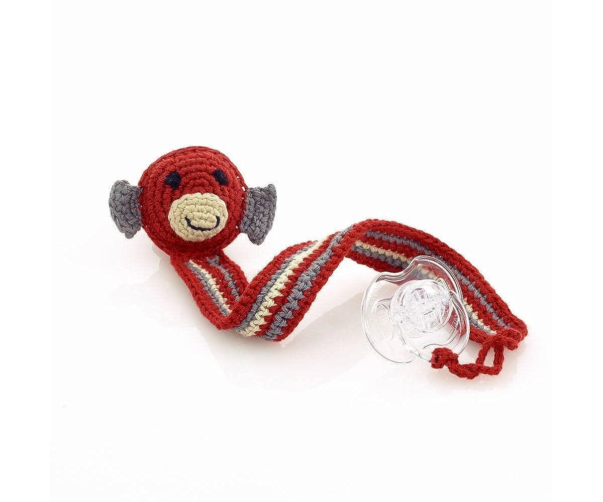 Rojo Mono mano ganchillo chupete chupete clip: Amazon.es ...