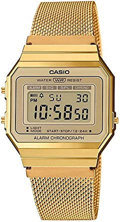 Casio Reloj Mujer de Digital con Correa en Acero Inoxidable A700WEMG 9AEF