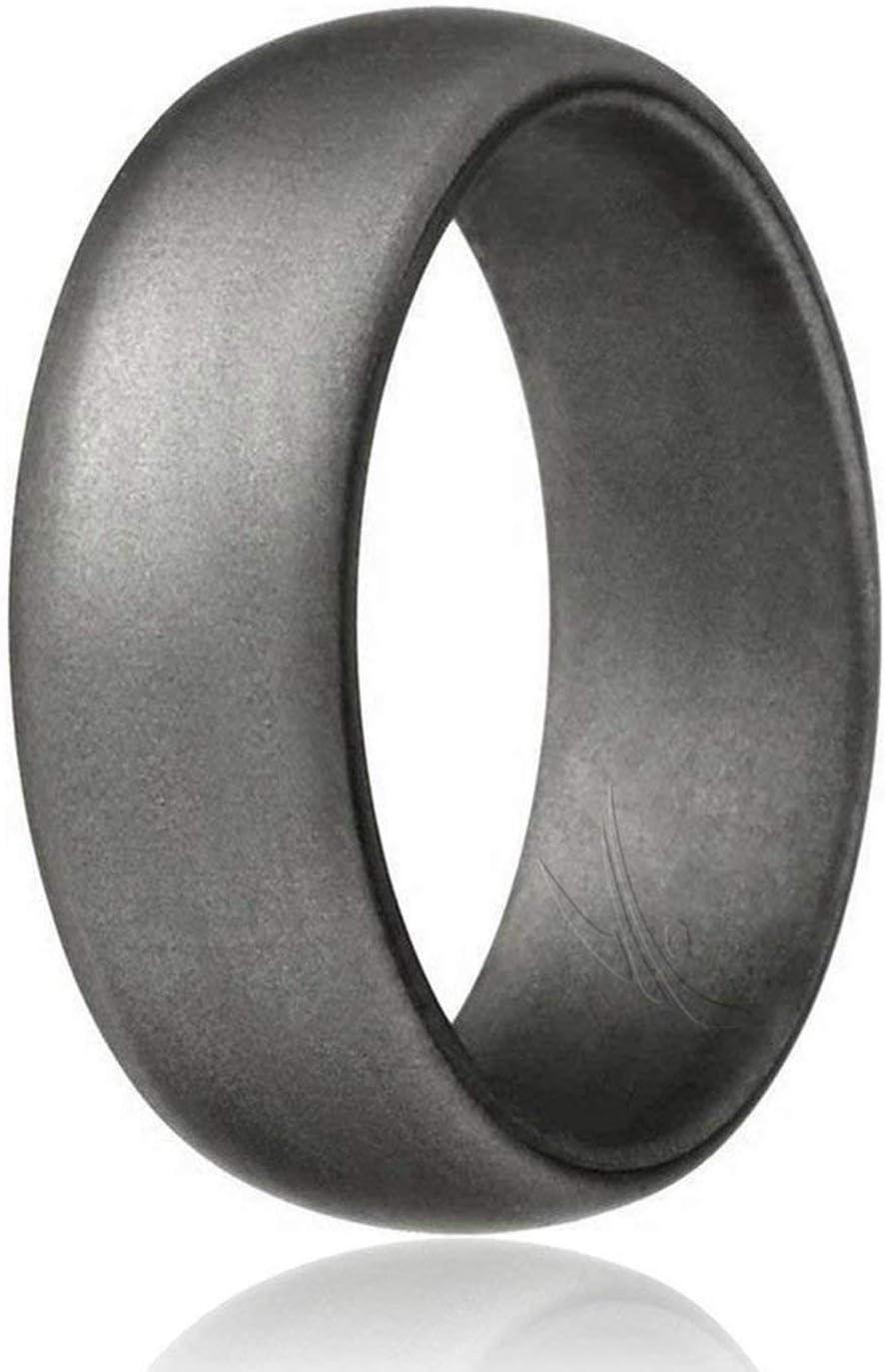 Schwarz Metall Look Silber ROQ Silikon Hochzeit Ring f/ür M/änner G/ünstigen Silikon Gummi Band /Camo 4/Pack /& Singles/ Hellgrau Grau
