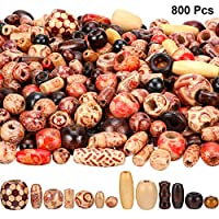 800 Pieces Printed Wooden Beads Loose Wood Beads Assorted Natural Wooden Bead for Jewelry Making DIY Bracelet Necklace Hair Crafts