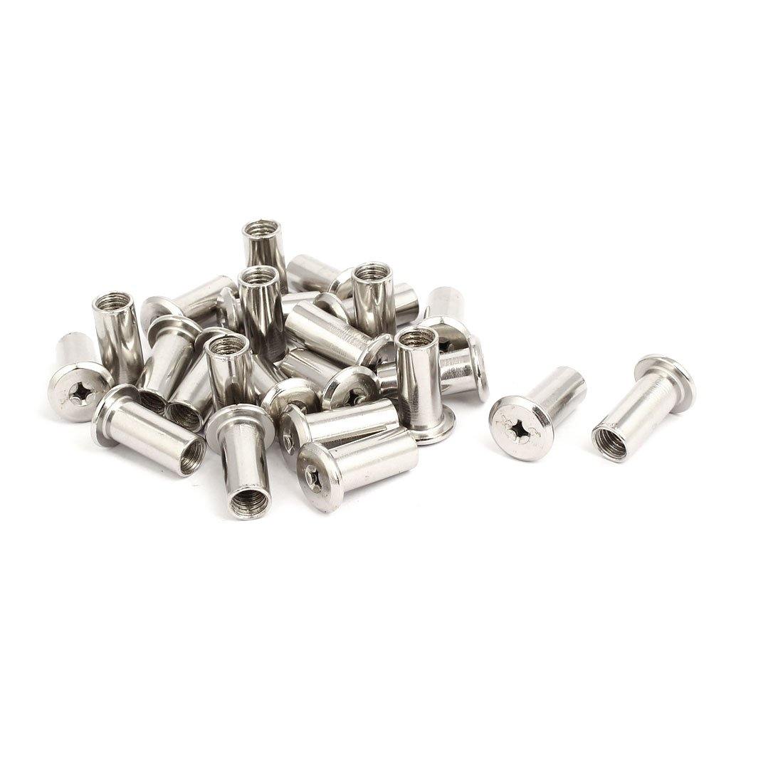 uxcell M8x22mm Female Thread Phillips Head Bucket Nut Furniture Fittings 24pcs