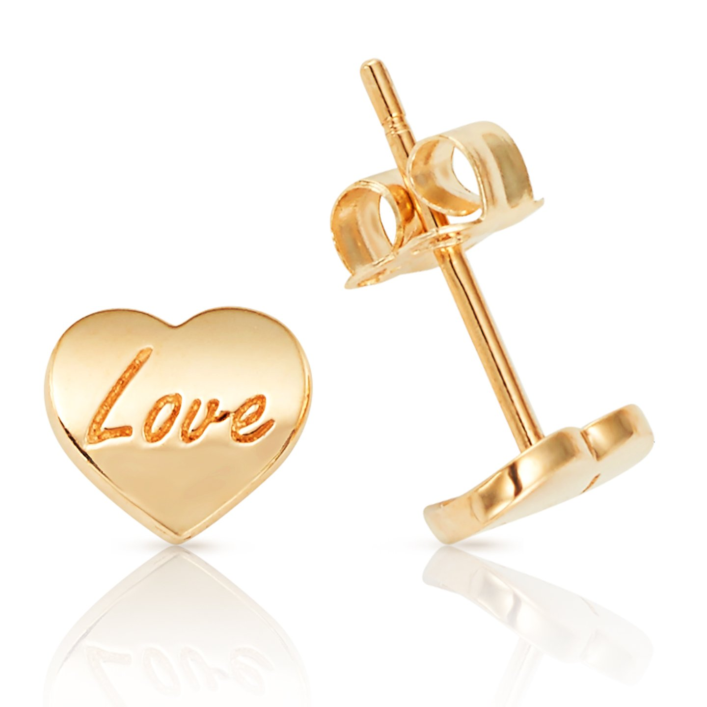 Solid Heart With the Word ''Love'' Written in 14K Yellow Gold