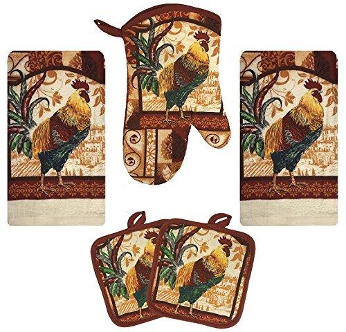 (Kitchen Towel Set 5 Piece Towels Pot Holders Oven Mitt Decorative Design Everyday Use (5 Piece Set, Farm Rooster))