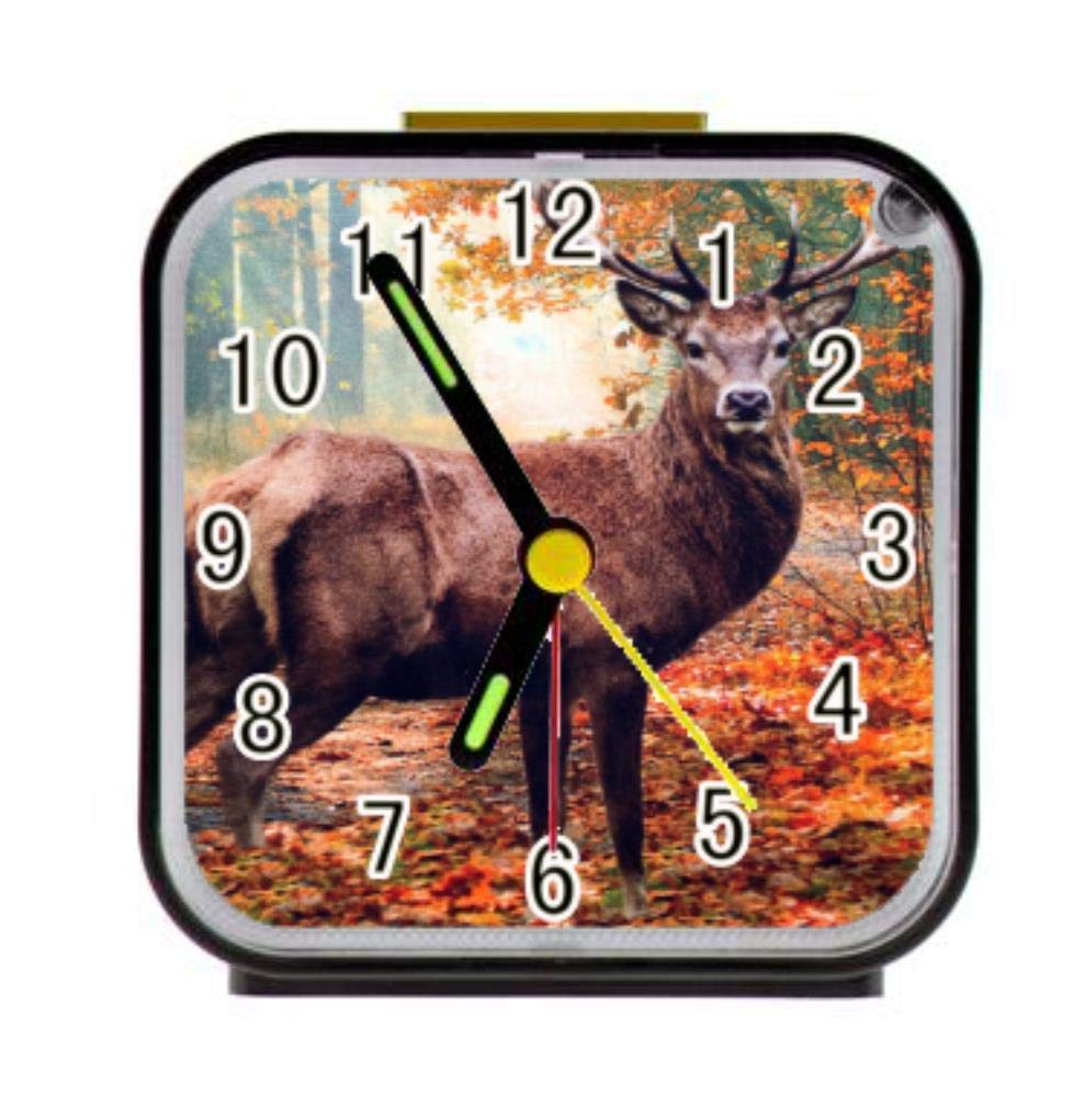 Dong Cun Bai Woods Deer Alarm Clock for Children Custom Square Black Alarm Clock 3.27''(H) x 3.07''(W) x 1.65''(D)