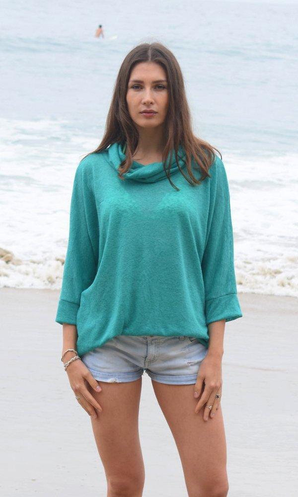 Turquoise Silky Kimono Sweater, Beach Sweater, Ocean Knit Top, Dark Blue Green Sweater, Cowl Neck Emerald Street Kimono Sweater. Size M-XL