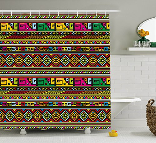 Ambesonne Tribal Shower Curtain, Ethnic Design with Colorful Geometrical Details Borders Vector African Themed Print, Fabric Bathroom Decor Set with Hooks, 70 inches, Multicolor