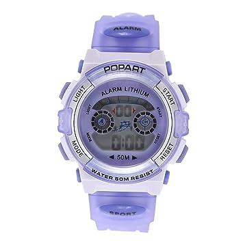 UKCOCO Reloj digital de pantalla LED de reloj luminoso impermeable para niños para niños (morado