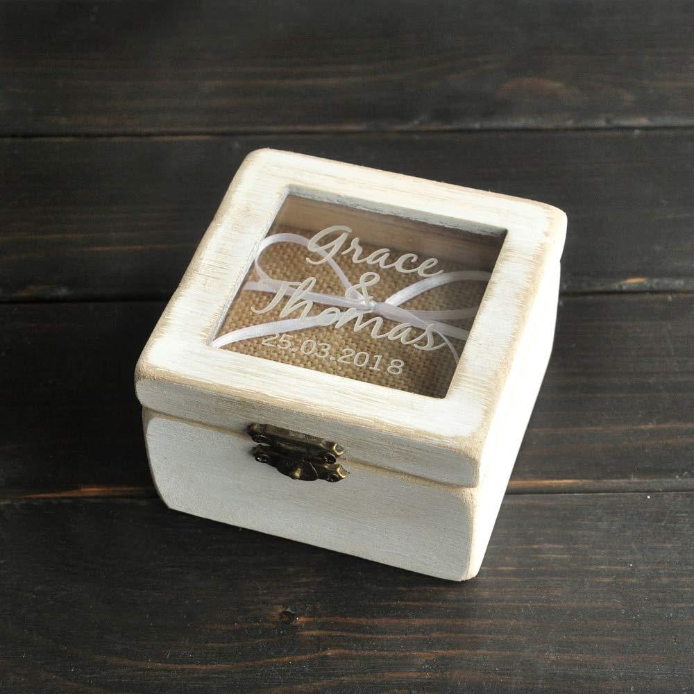 BlueDragon10 Wooden Ring Box Custom Rustic Bearer Square Personalized Wedding Anniversary