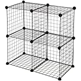 SortWise ® Multi Use DIY 4 Cube Wire Grid Shelves Organizer, Wardrobe Organizer, Bookcase, Storage Organizer (Black)