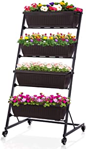 Taleco Gear Vertical Raised Garden Bed, Garden Freestanding Elevated Planter with 4 Container Boxes for Patio Balcony Indoor and Outdoor