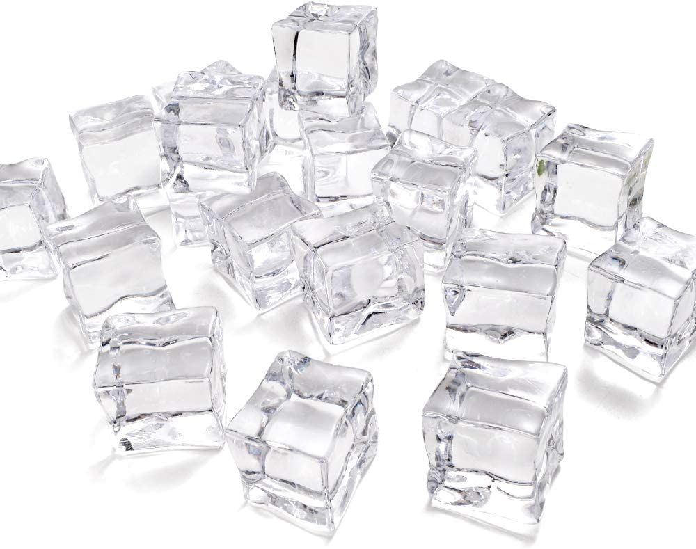 HUIANER 20 Pcs 1.2 inch Fake Clear Acrylic Plastic Ice Cubes Square Shape for Display or Photography,Good for Photography Props or Home Decorate