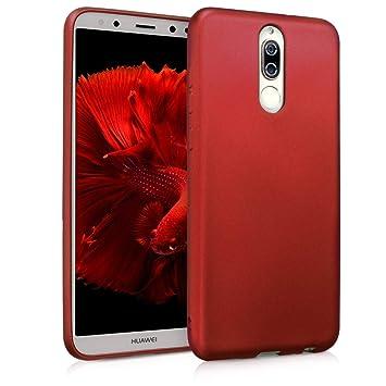kwmobile Funda compatible con Huawei Mate 10 Lite - Carcasa de [TPU silicona] - Protector [trasero] en [rojo oscuro metalizado]