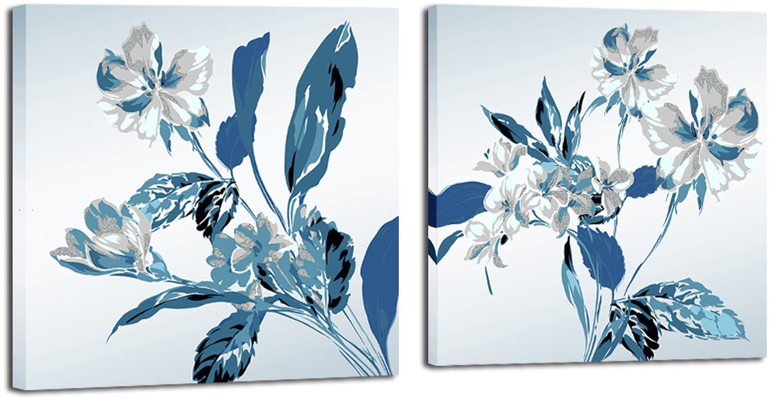 Mon Art 12x12 Inch x2 Pics Retro Blue Orchid Flower Blossom Fresh Literature Painting Originality Wall Art Modern Canvas Decor Decoration Stretched and Framed Ready to Hang