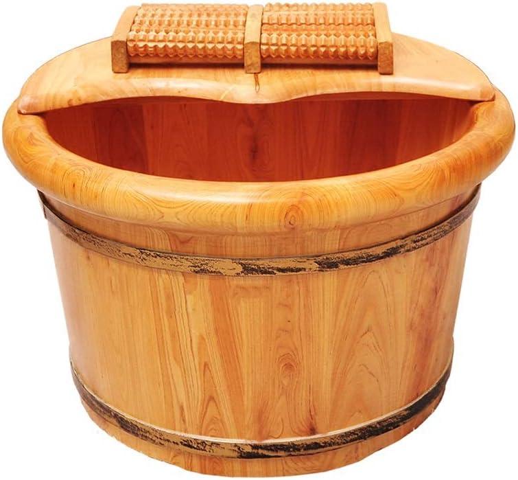 Wooden Foot Basin,Solid Wood Foot Tub, Pedicure Bowl Spa Massage Cedar Pedicure Barrels Household Foot Bath Barrel,with lid with Massager