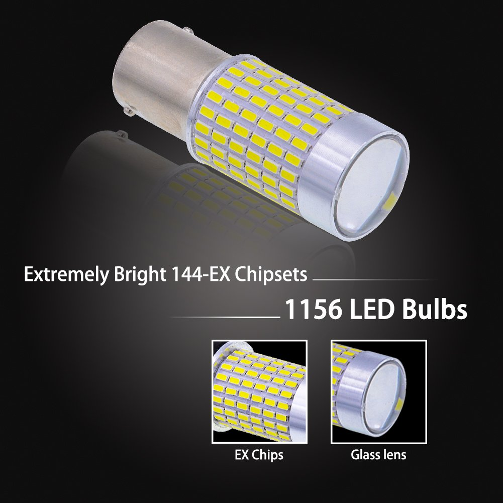 2-Pack NATGIC 1156 BA15S 1141 7506 LED Bulbs Xenon White 1500LM 3014SMD 144-EX Chipsets with Lens Projector for Exterior Back Up Reverse Tail Lights 12-24V