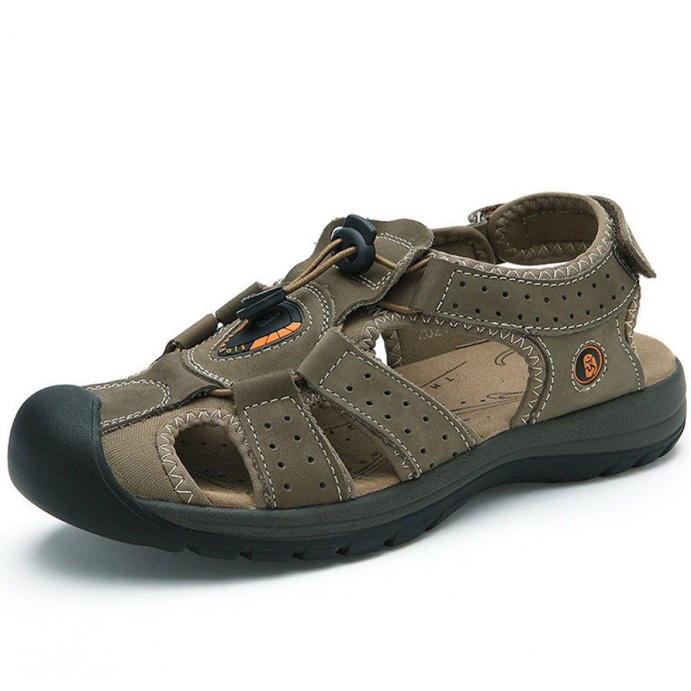 Sommer Baotou Outdoor Sandalen Männer Leder Mode Strand Schuhe Outdoor Baotou Sports Schuhe Khaki c60c98