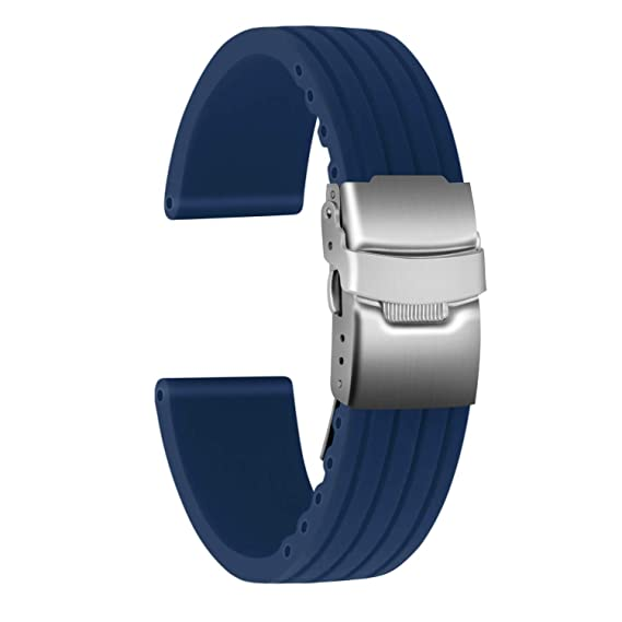 Ullchro Correa Reloj Calidad Alta Recambios Correa Relojes Caucho Stripe Pattern - 16mm, 18mm, 20mm, 22mm, 24mm Silicona Correa Reloj con Acero ...