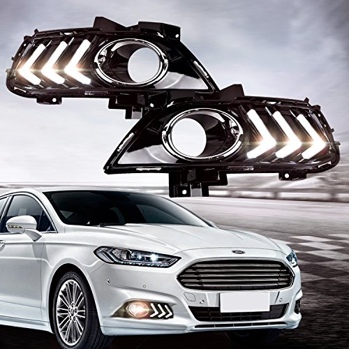 Style Fog Lights Kit - RCP - RFDL01 - Aftermarket LED Daytime Running Lights Mustang Style DRL Fog Lamps Kit for 2012-2015 Ford Fusion, White 6000K, Set of 2