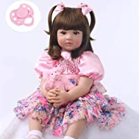 Zero Pam Reborn Toddler Girl Dolls 24 inch Real Princess Girl , Named Aurora , with Beautiful Princess Dress and Magnet Pacifier , Birthday Gifts for Kids Age 3+ … (1)
