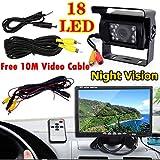 "12V-24V Bus Truck Trailers Van Caravan Rear View Kit 7"" LCD HD Monitor + 18LEDs IR Night Vision Waterproof Reversing Back up Camera"
