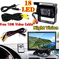 12V-24V Bus Truck Trailers Van Caravan Rear View Kit 7 LCD HD Monitor + 18LEDs IR Night Vision Waterproof Reversing Back up Camera